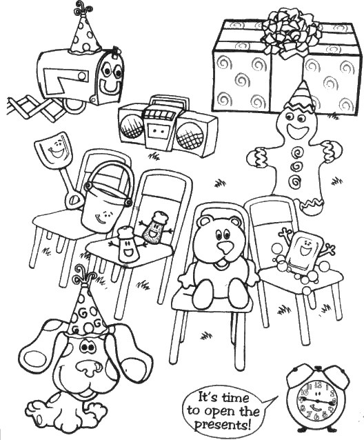 blues clues with presents coloring page