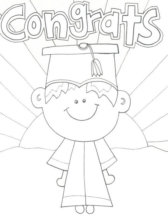 cartoon kids graduation coloring sheet