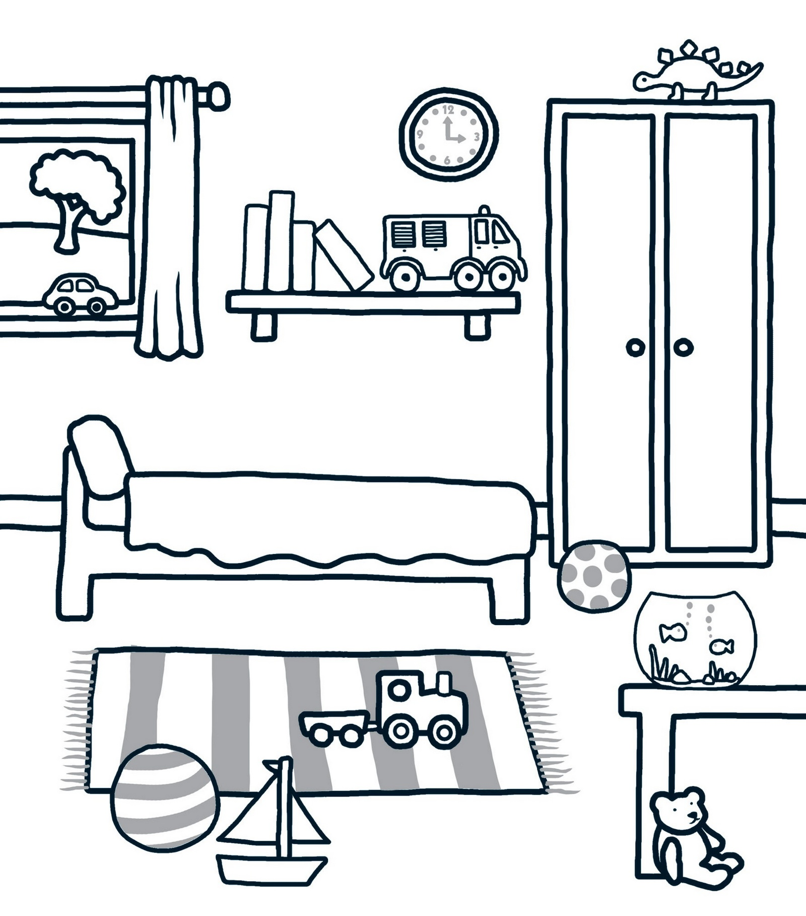 clean bedroom coloring sheet
