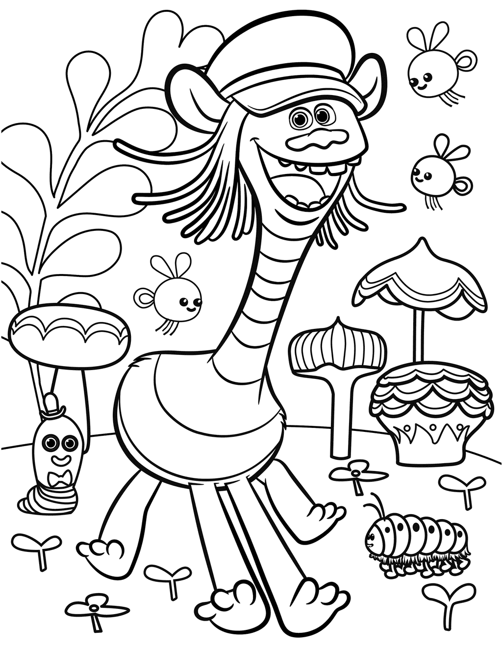 cooper from trolls coloring sheet for kids