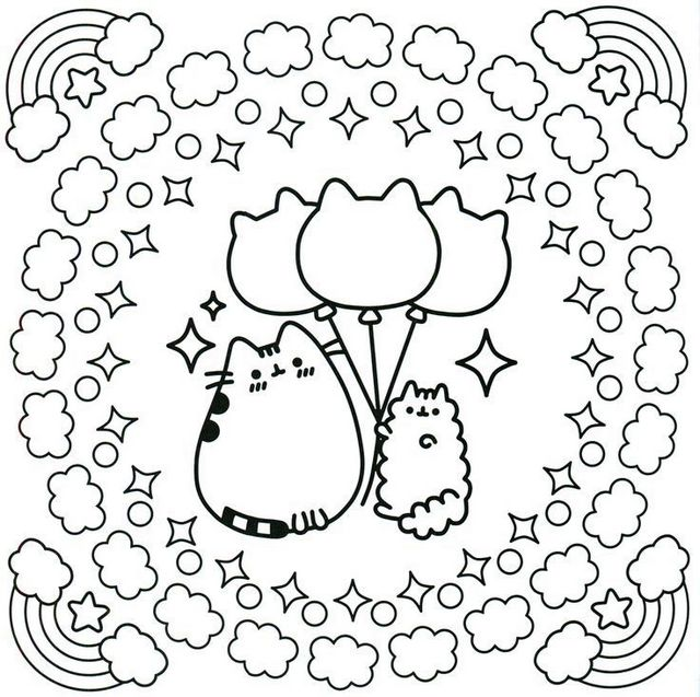 cute kawaii cat coloring sheet