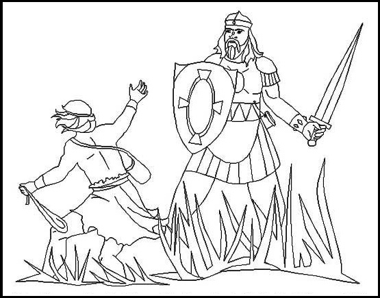 david and goliath giant coloring page