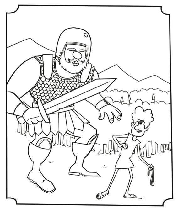 david versus goliath story coloring picture