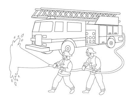 fire truck and firefighter coloring page