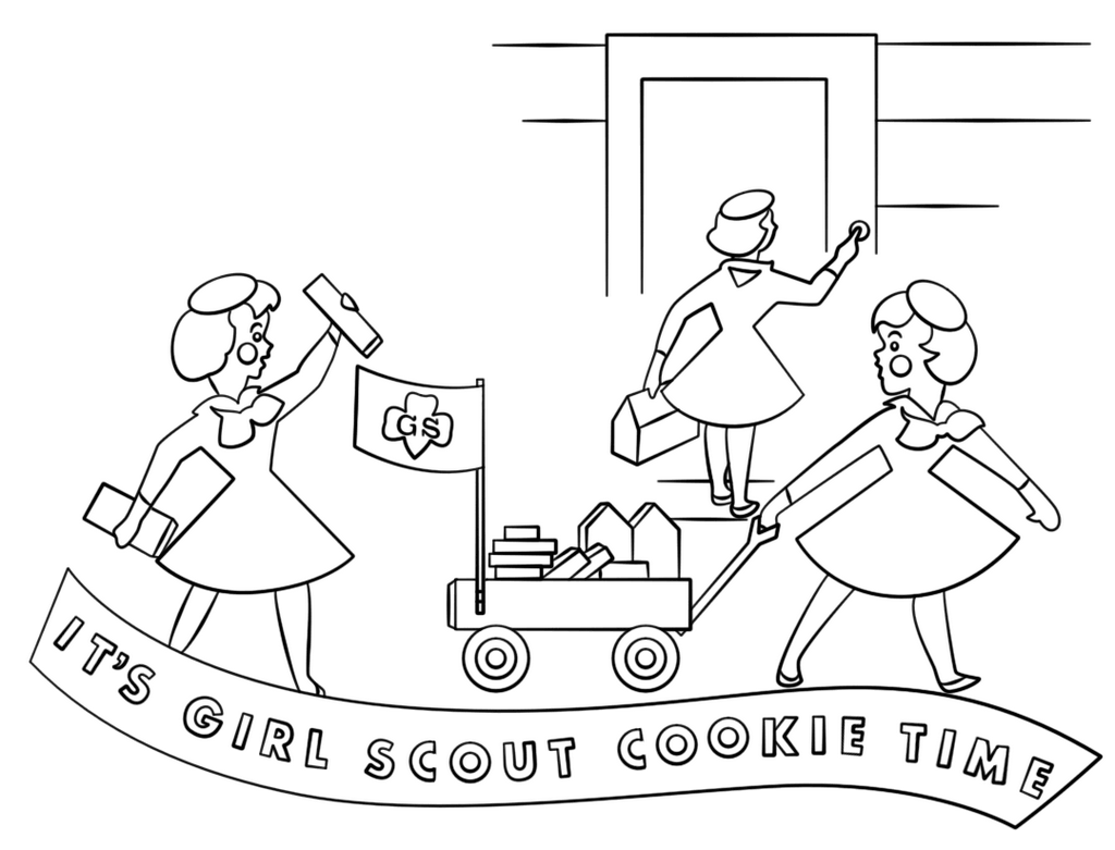 girl scouts cookie time coloring page
