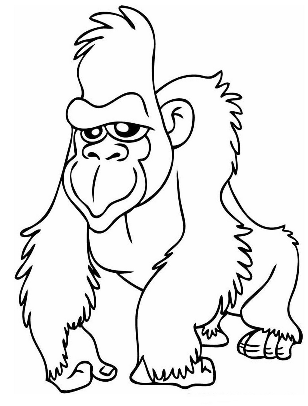 gorilla coloring and activity page for kids