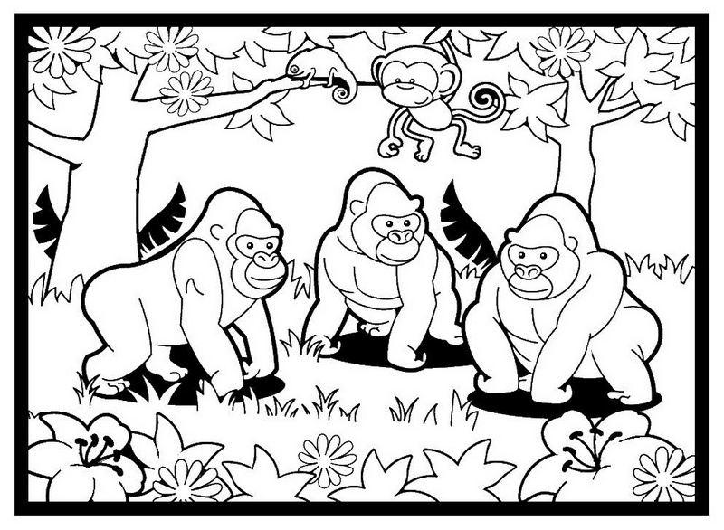 gorillas in the magical forest coloring pictures