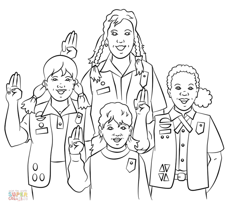 group of girl scouts promise coloring page