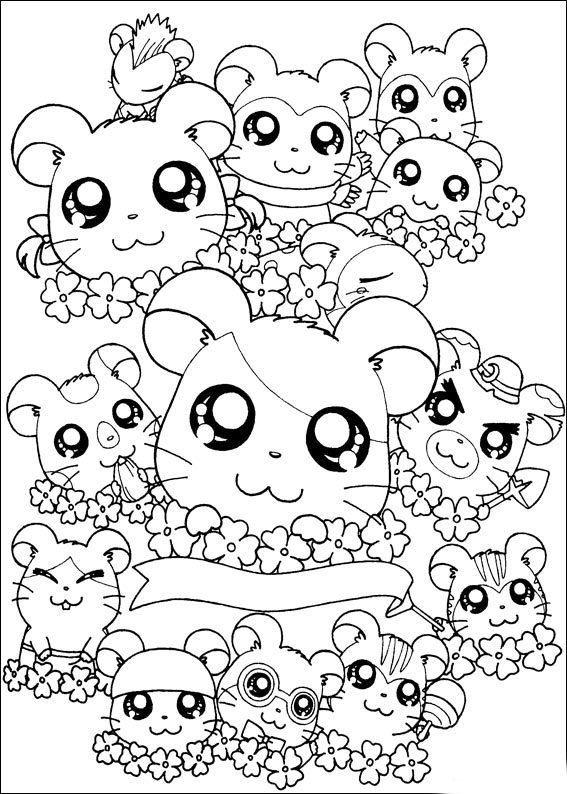 hamtaro kawaii coloring pictures