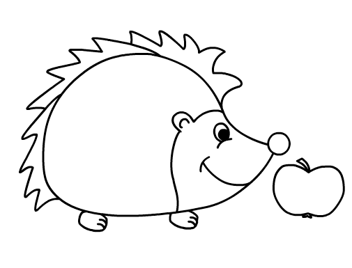 hedgehog and apple coloring sheet for little kids