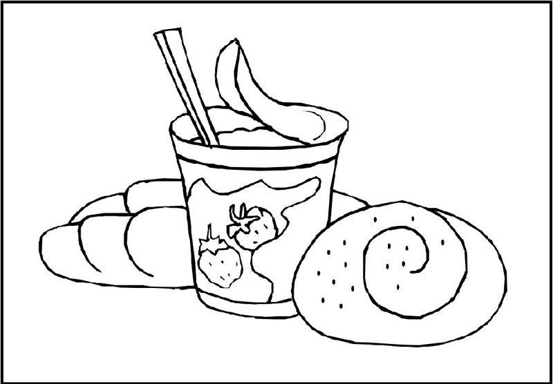 ice cream and bread coloring sheet