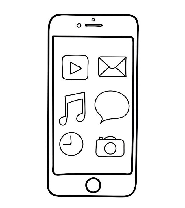 iphone features coloring sheet