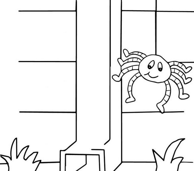 itsy bitsy spider climbed up water spout coloring page