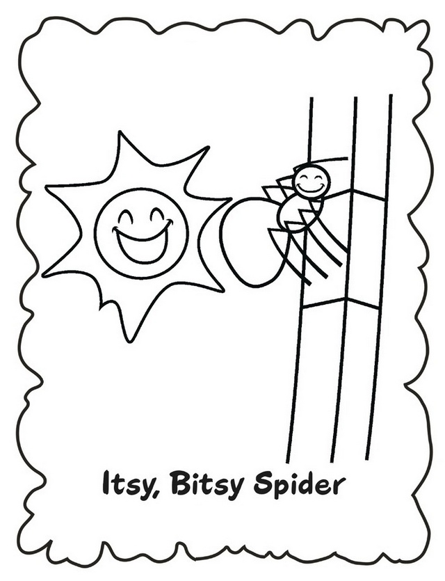 itsy bitsy spider out come the sun coloring sheet