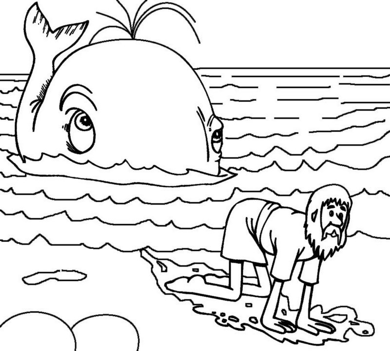 jonah and the whale story coloring page