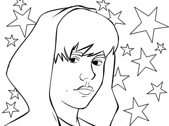 justin bieber celebrity star international singer coloring sheet