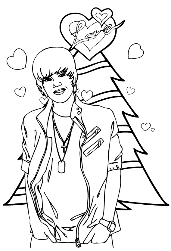justin bieber on christmas day coloring sheet