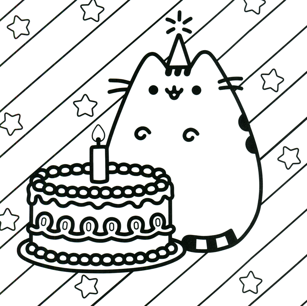 kawaii cat birthday coloring sheet