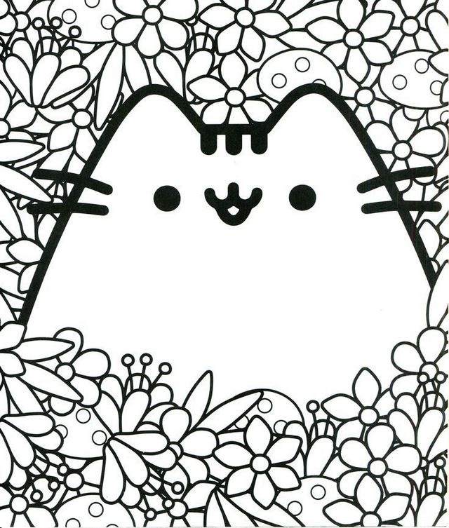 kawaii cat coloring printable page