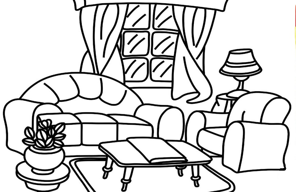 living room printable coloring book