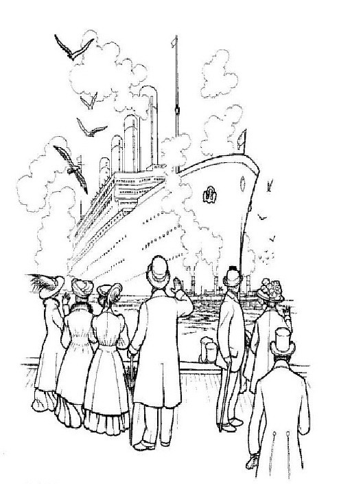 luxury titanic coloring picture