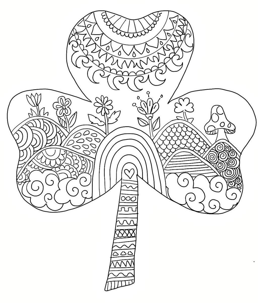 mandala shamrock coloring picture
