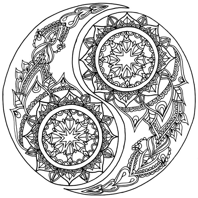 mandala yin yang coloring and activity page