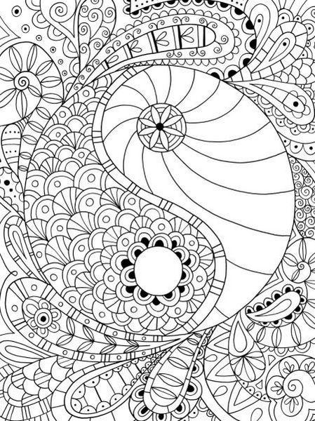 mandala yin yang coloring page