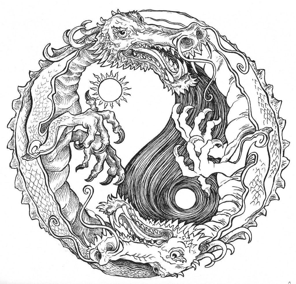 mandala yin yang coloring sheet