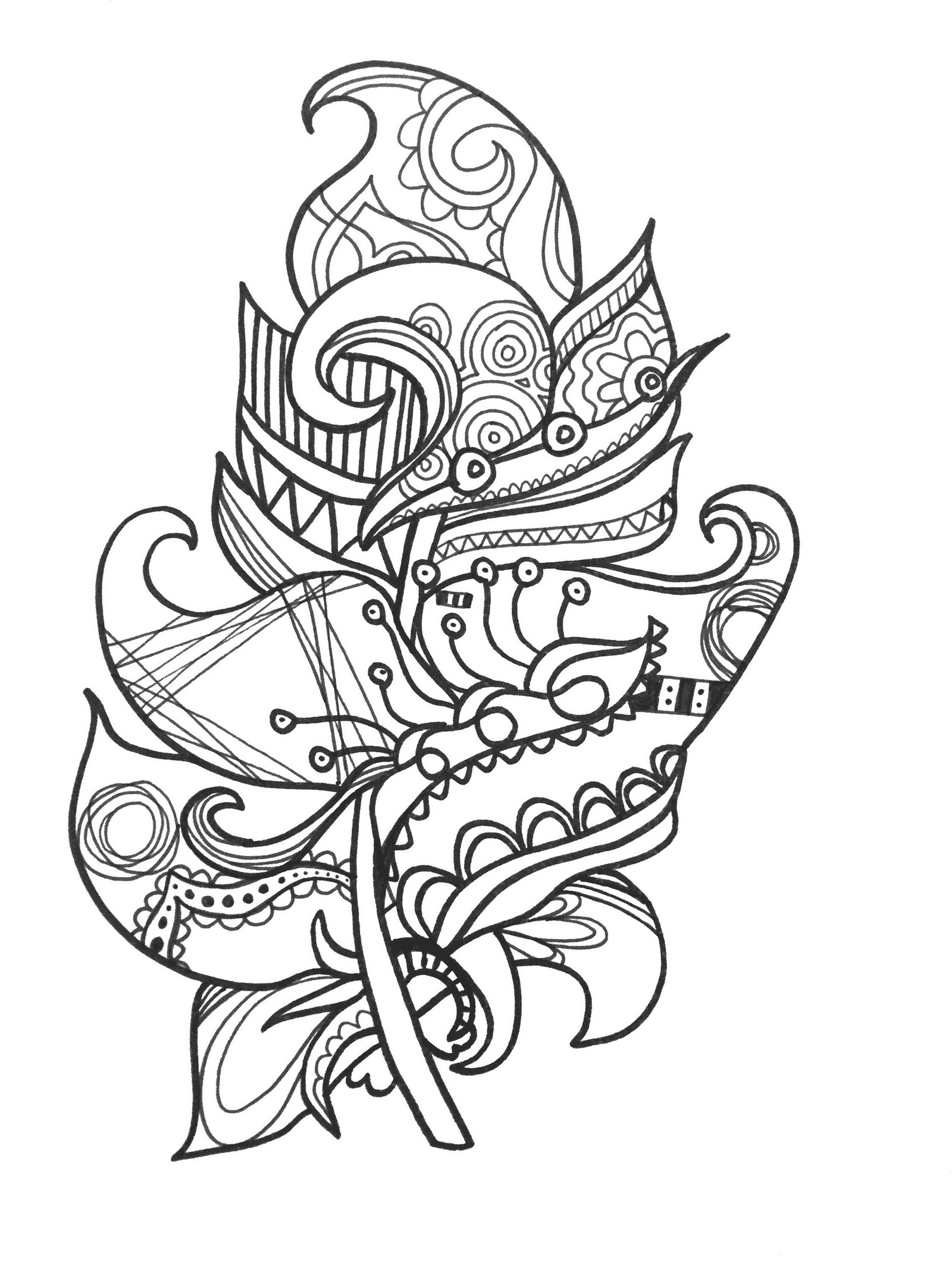 mandala zen feather coloring page printable