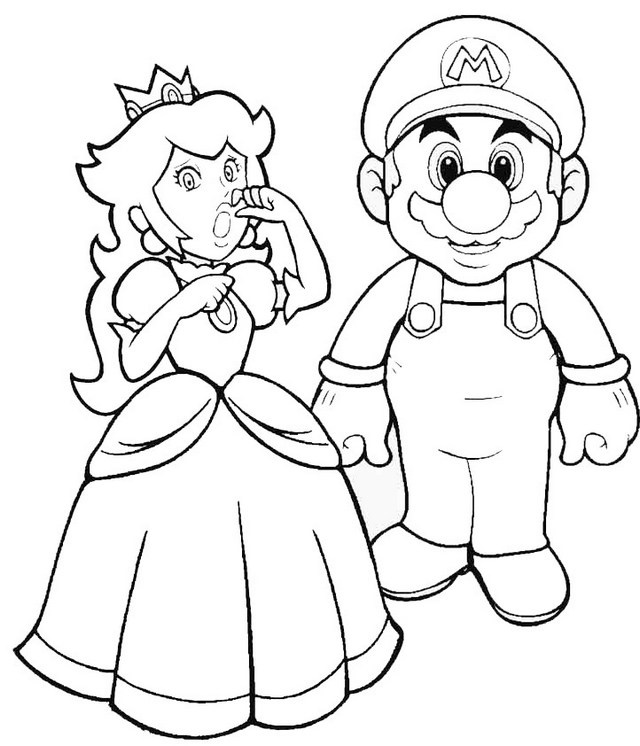 mario saving princess peach coloring sheet