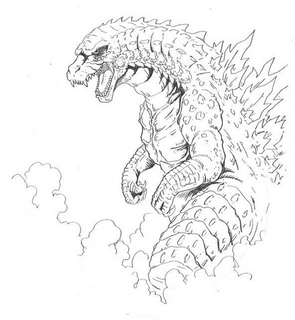 mythology godzilla monsters coloring page printable