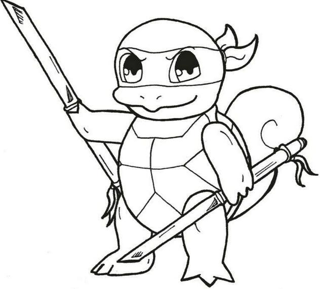 ninja squirtle from pokemon coloring picture