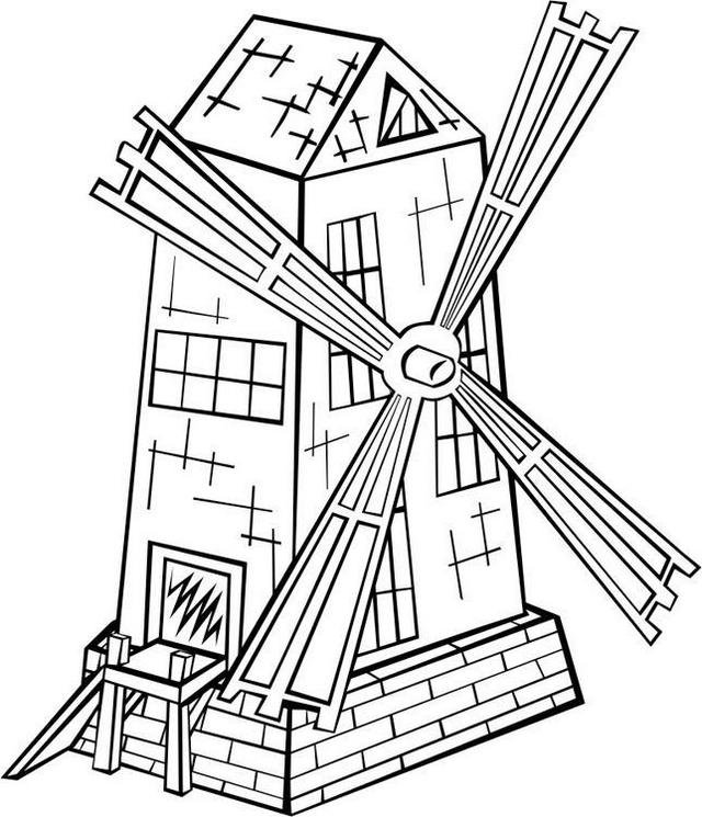 old windmill coloring page printable