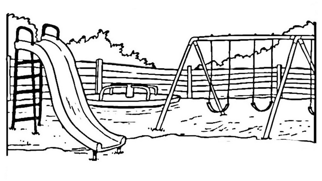 outdoor playground coloring page for kids