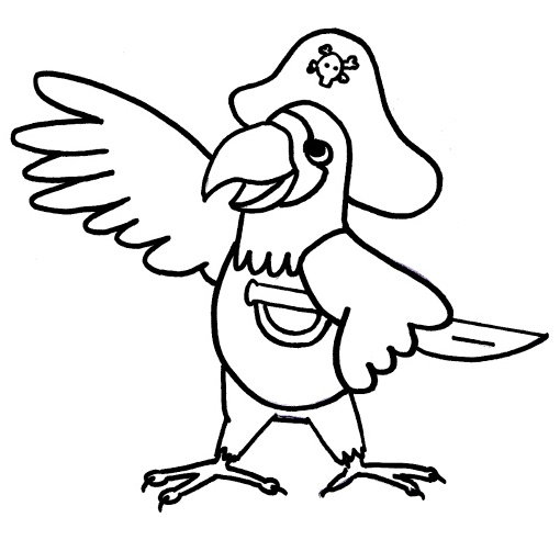 parrot pirate cartoon coloring sheet for kids