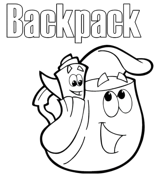 printable doras backpack coloring sheet for kids