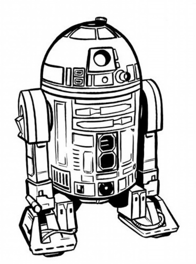 r2 d2 robot in starwars coloring pages printable