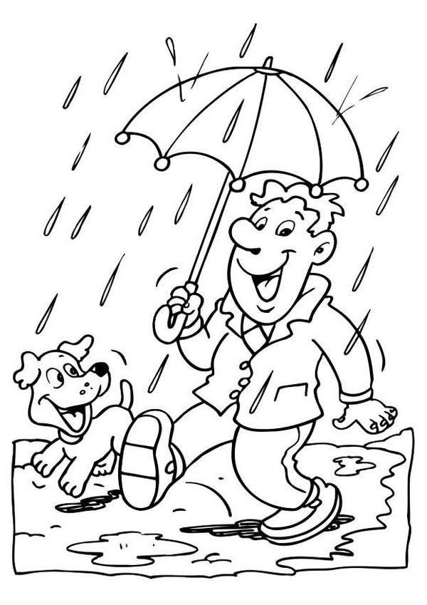 rainy day weather coloring pictures