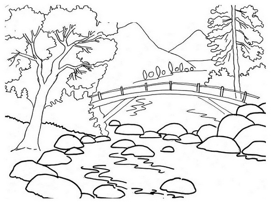 river mountain coloring sheet for kids