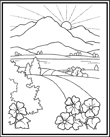 road to mountain and sunset scenery coloring sheet