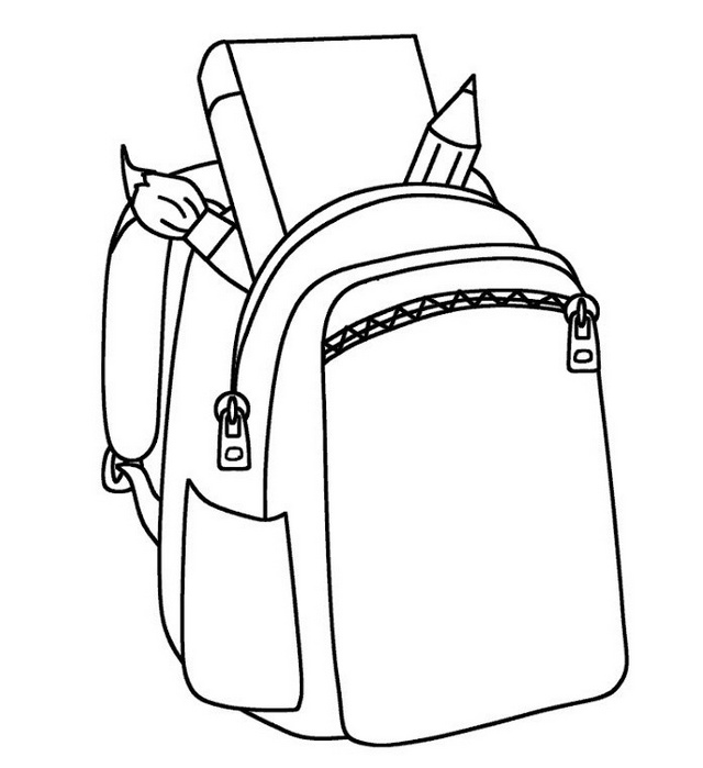 school backpack coloring picture