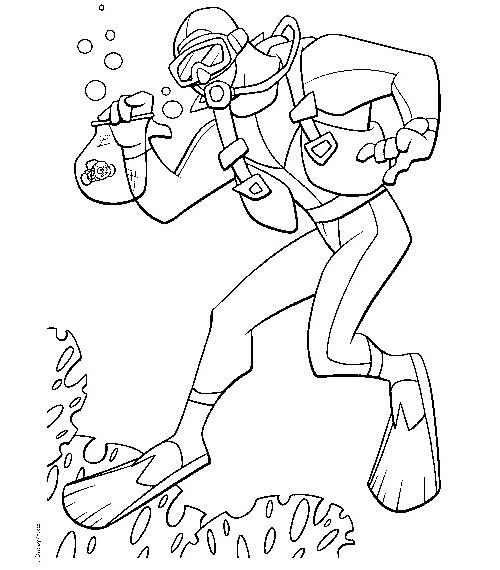 scuba diver coloring picture