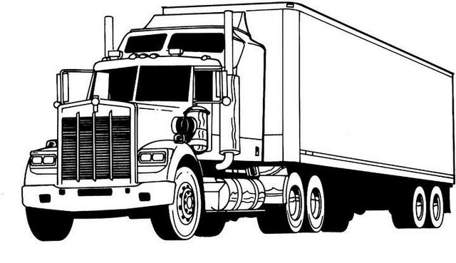 semi trailer truck coloring page