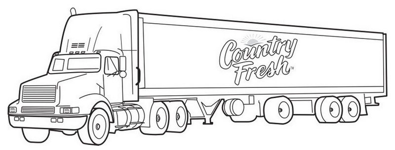 semi truck coloring page design