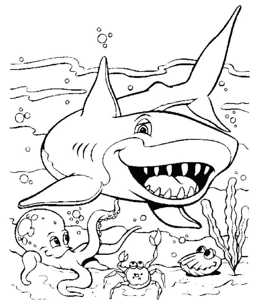 shark coloring page printable