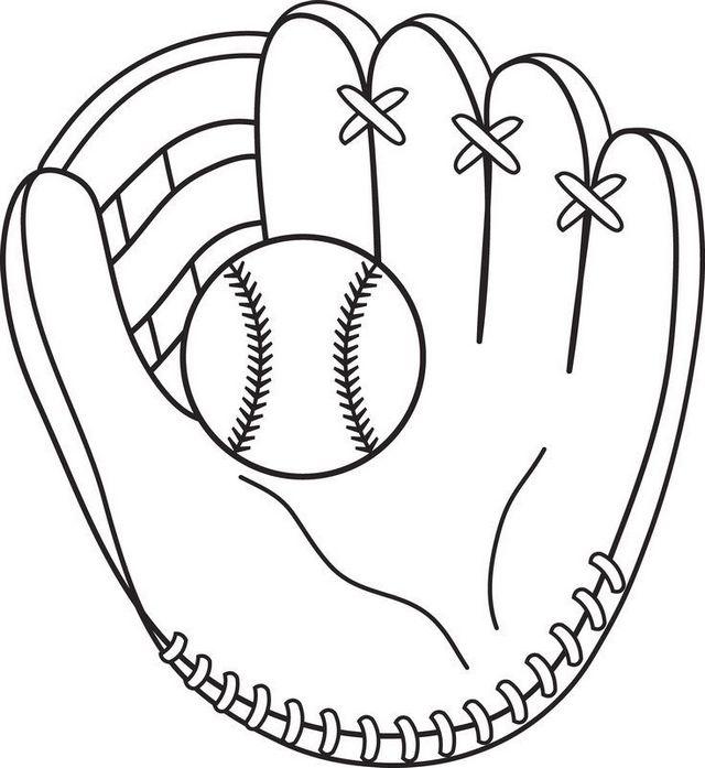 softball and glove coloring sheet