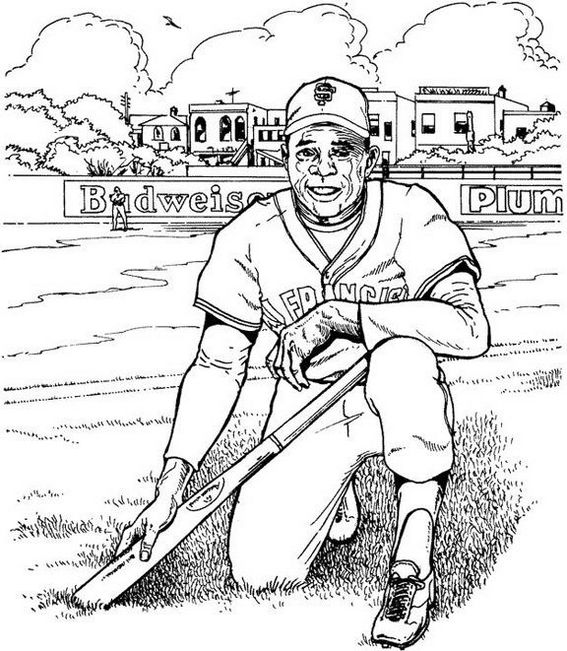 softball player man coloring picture