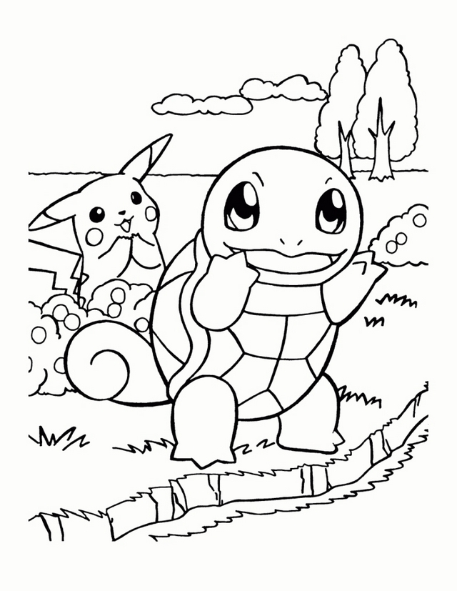 squirtle and pikachu from pokemon coloring page
