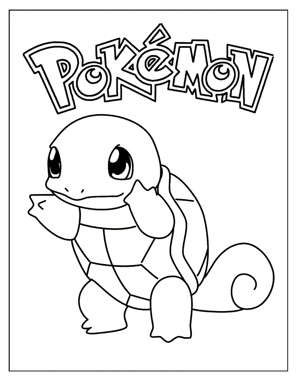 squirtle blue turtle pokemon coloring sheet